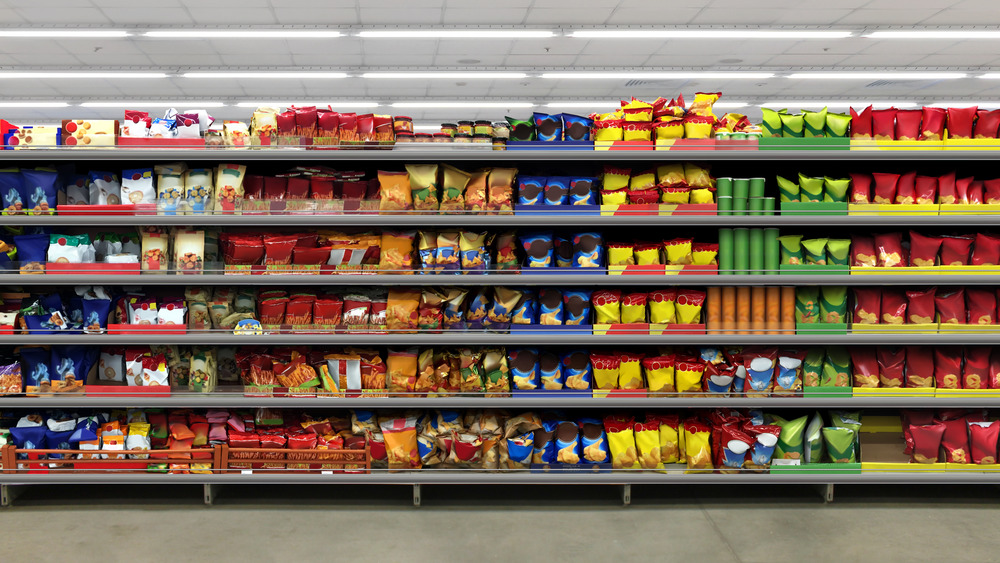 Snack food aisle with chips