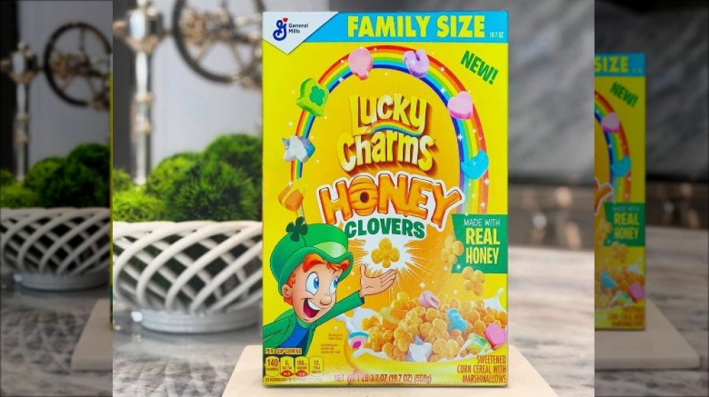 A box of the new Lucky Charms Honey Clovers