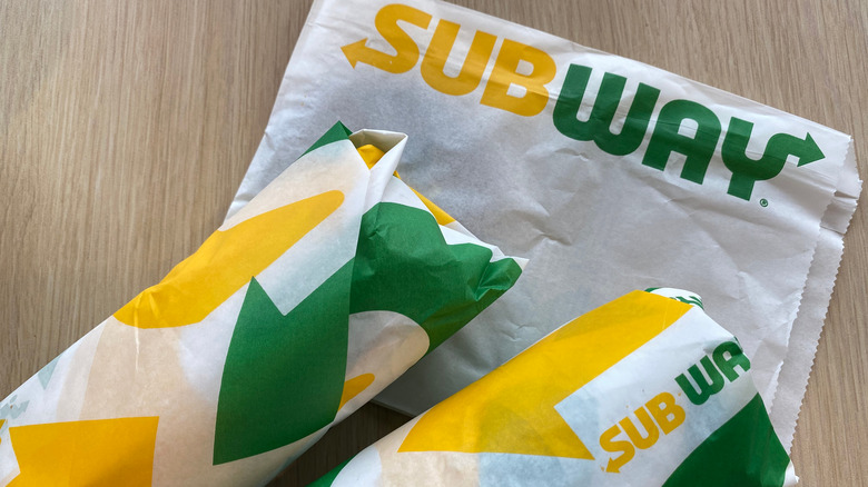 Sandwiches from Subway wrapped in paper