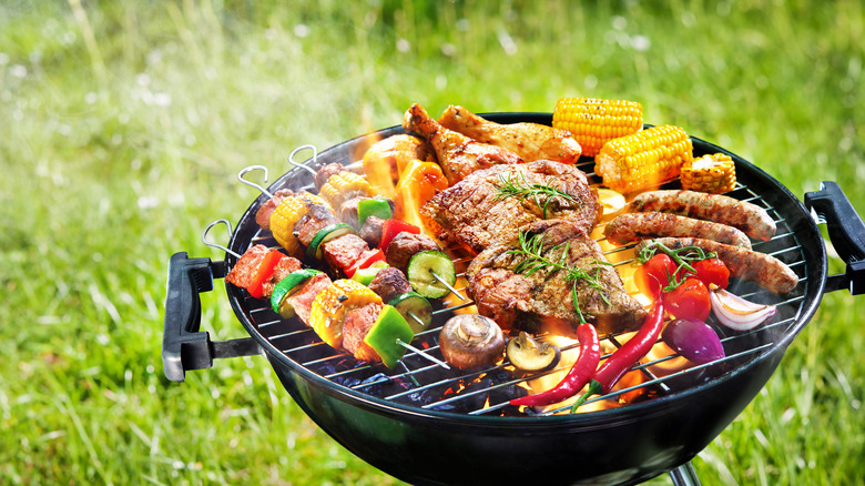 Grill with food on it