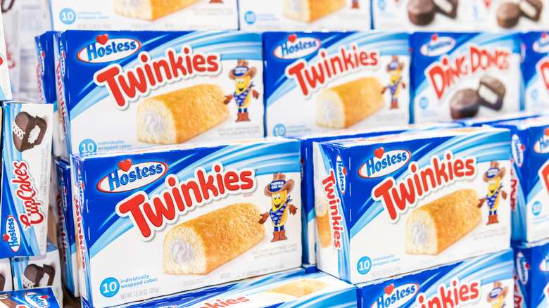 Stacked boxes of Twinkies