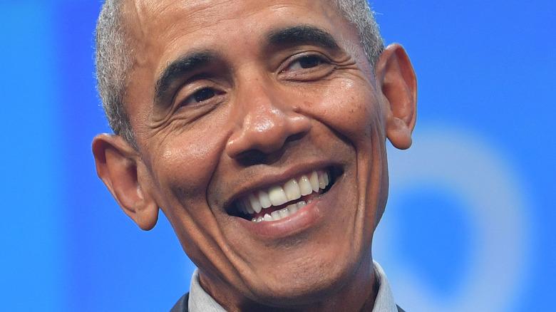 Barack Obama smiling onstage