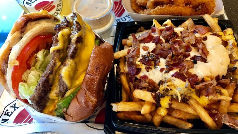 Burger and cheese fries