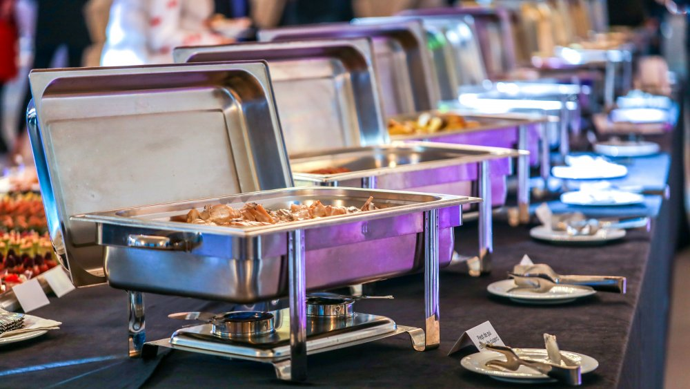 Chafing dishes at buffet