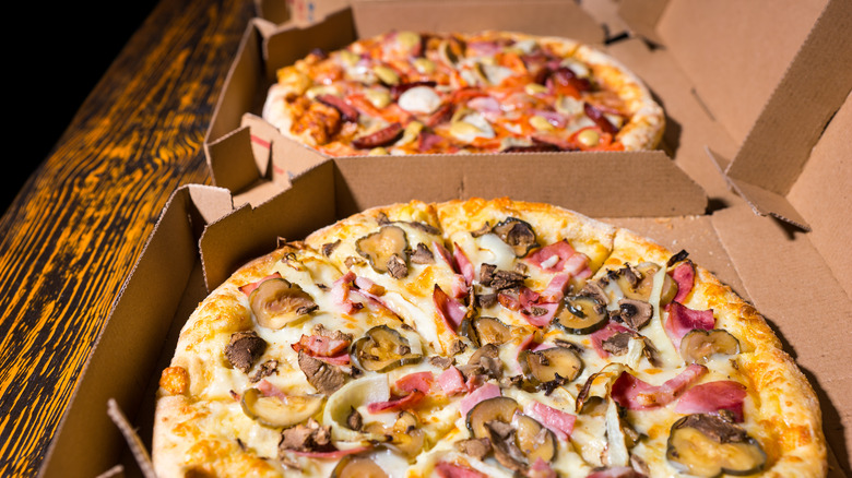 Pizza in pizza boxes