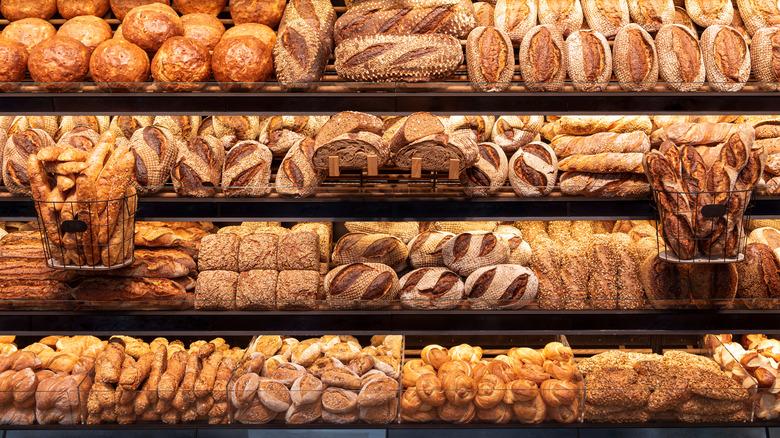 shelves full of bread