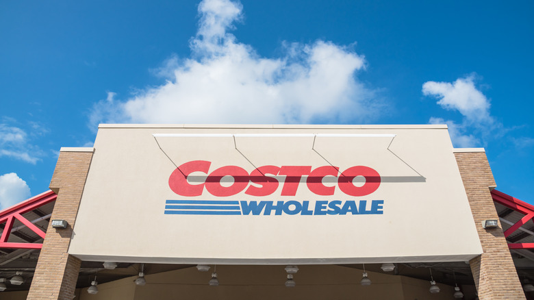 Costco sign under clouds