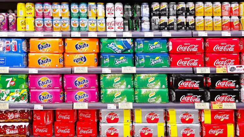Soda aisle at grocery store
