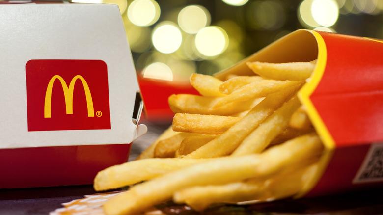 carton of McDonald's fries on tray
