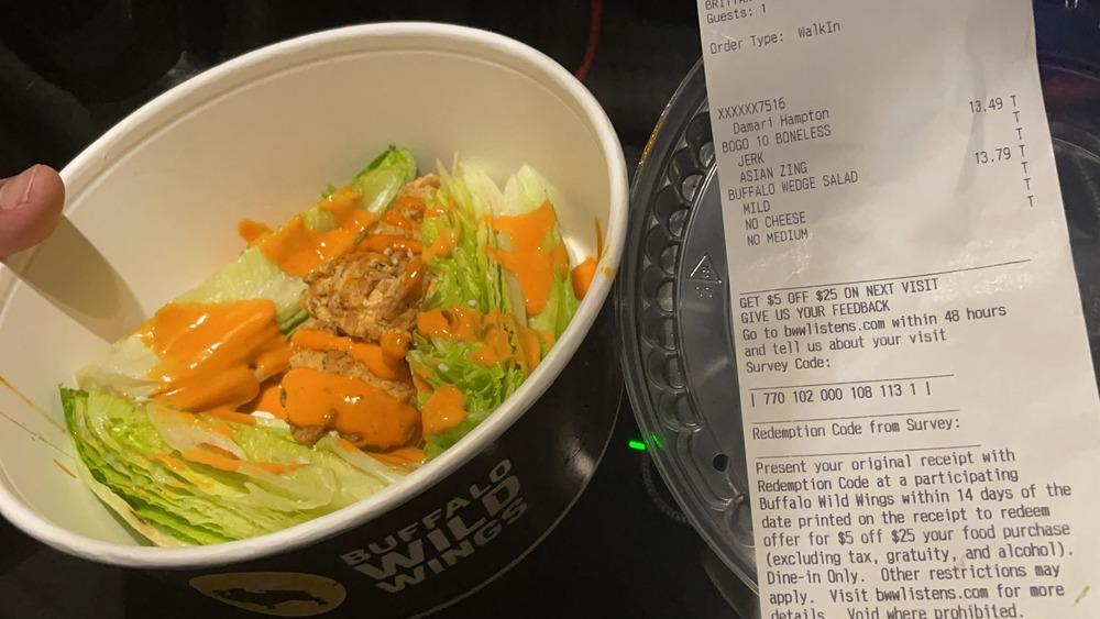 Buffalo Wings salad in a bowl
