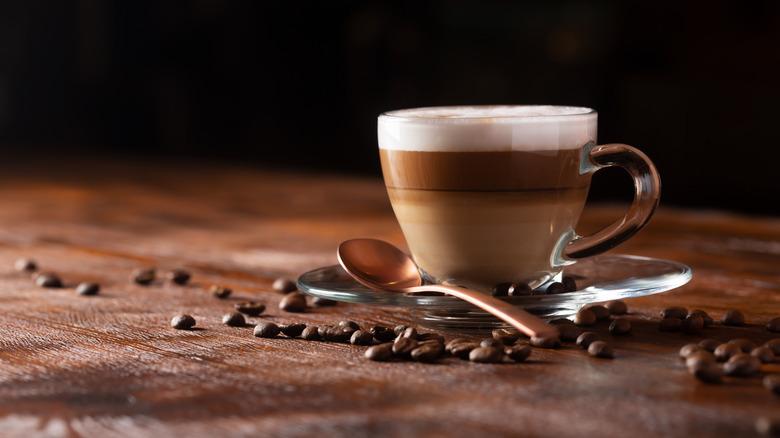 Cappuccino in glass mug