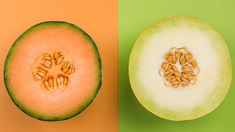 Cantaloupe and honeydew melons, halved