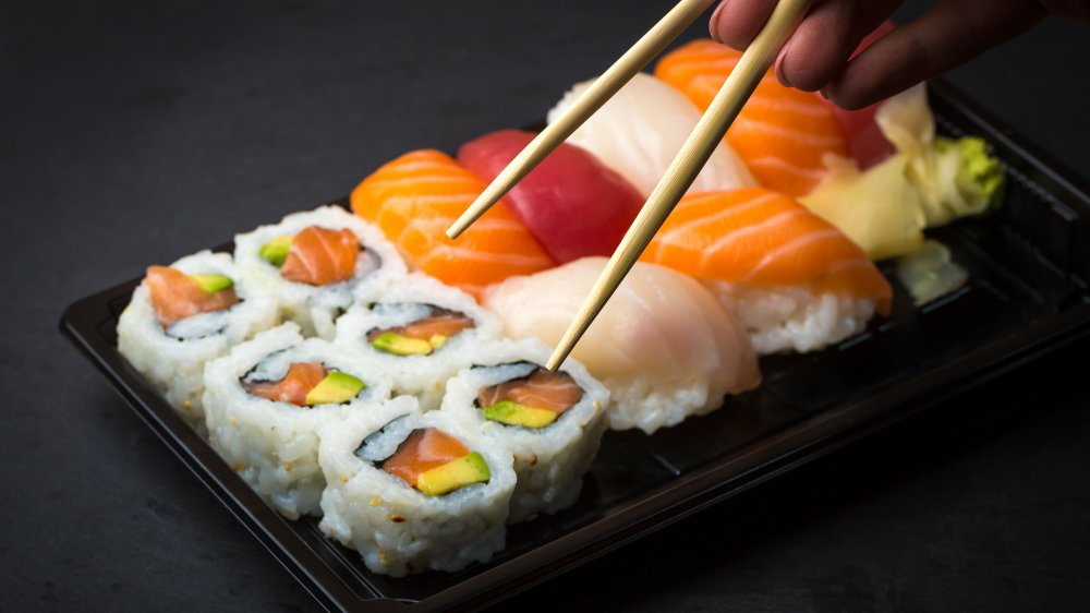 Sushi served in a plastic tray