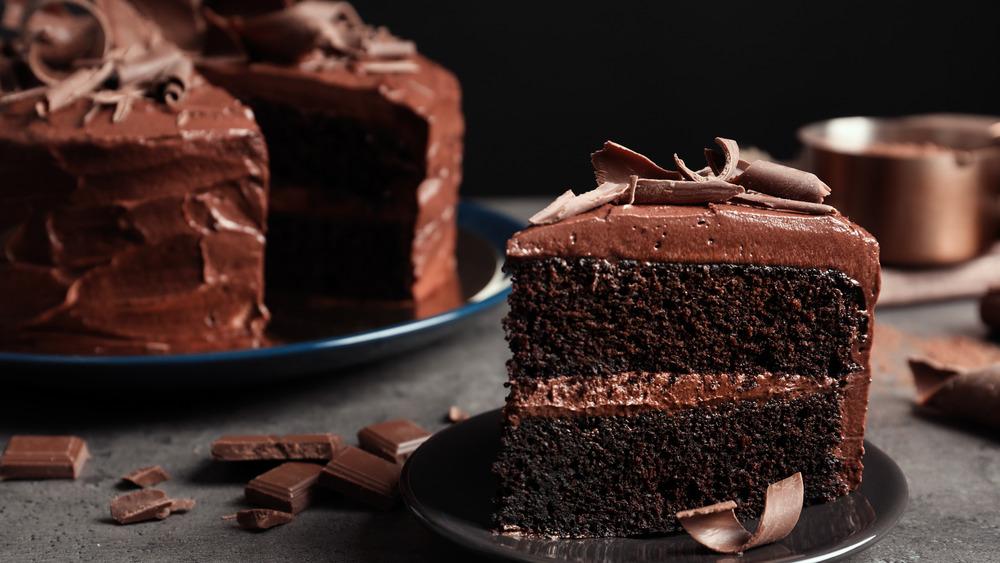 Slice of rich, dark chocolate cake