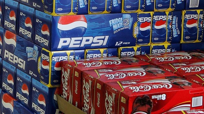 boxes of pepsi and coca-cola
