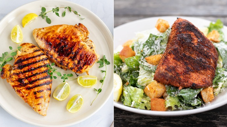 grilled chicken and blackened salmon