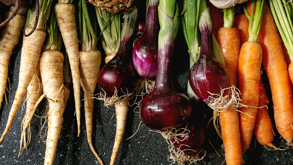 Parsnips, purple onions, and carrots