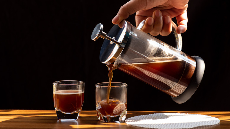 French press coffee being poured