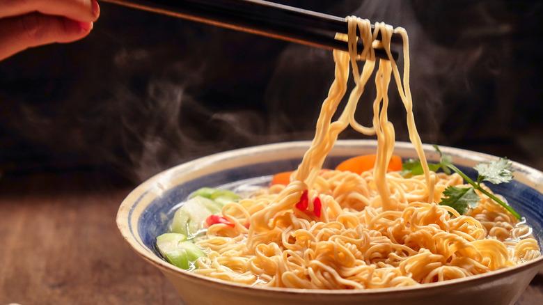 Bowl filled with ramen noodles