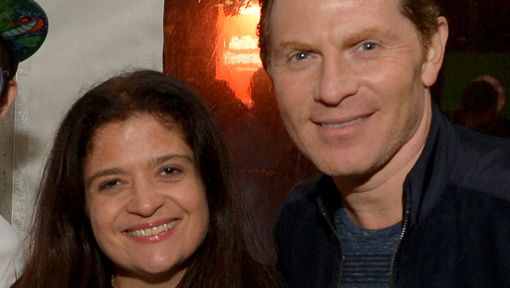 Alex Guarnaschelli and Bobby flay close-up