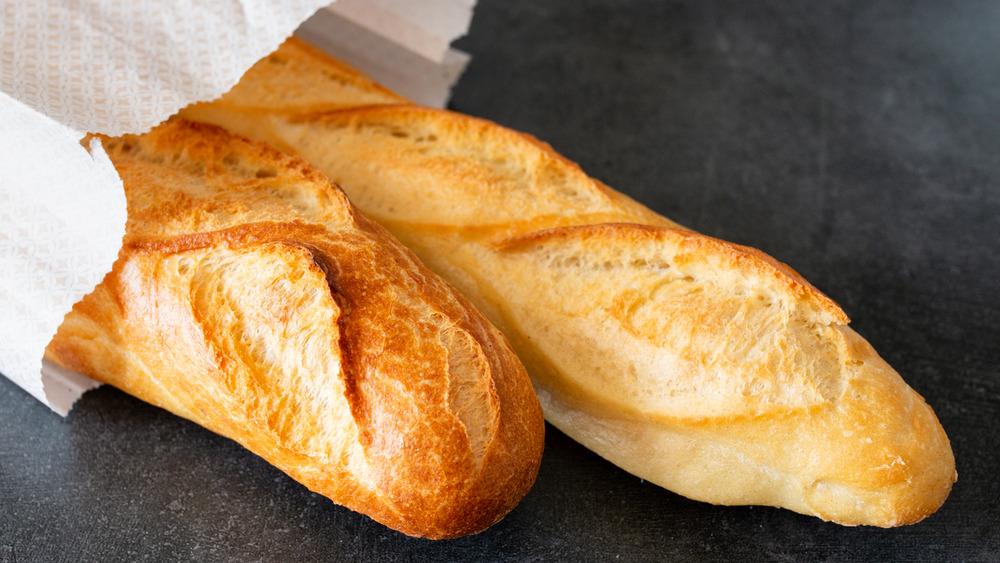 Baguette loaves in bag