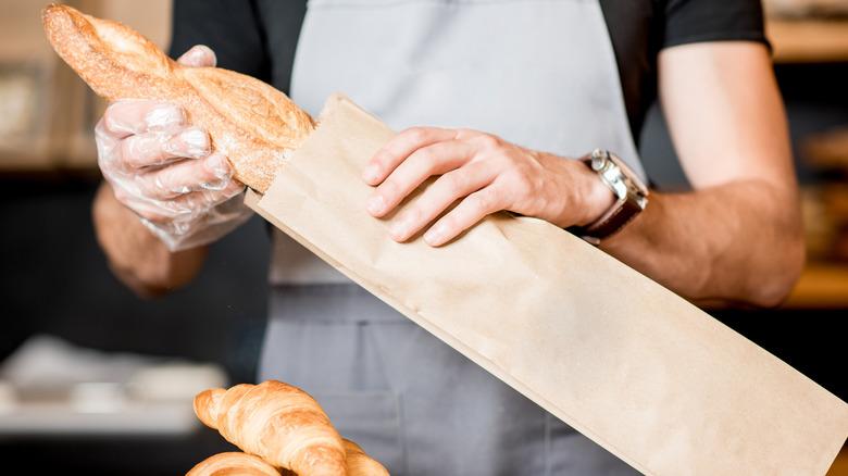 bread in brown paper bag