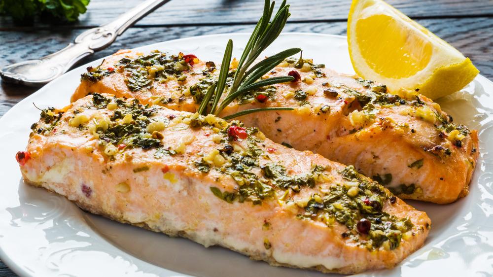 Salmon and lemon on a plate