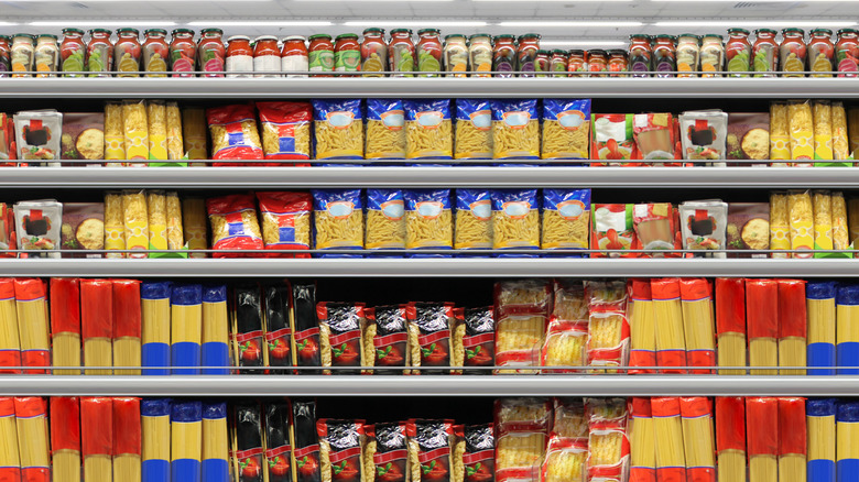 Pasta aisle at grocery store