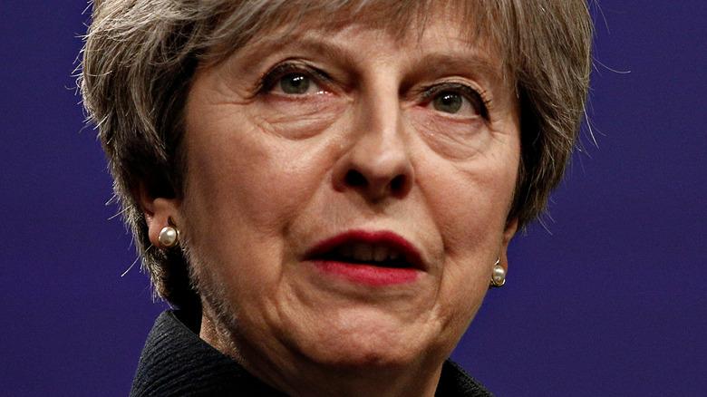 Former U.K prime minister Theresa May speaking
