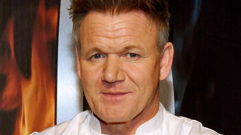 Gordon Ramsay in white chef's coat