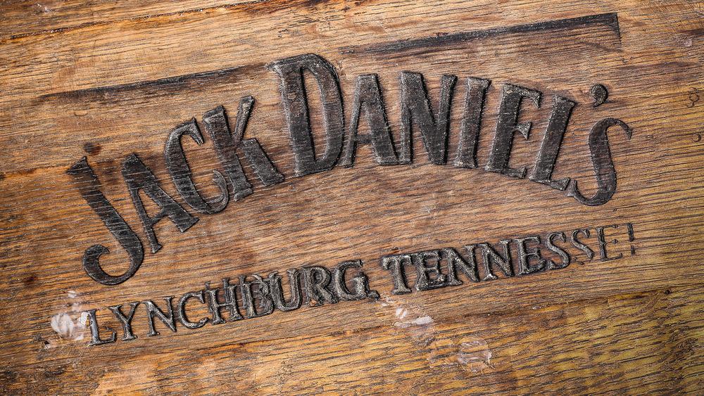 The Jack Daniel's logo on wood