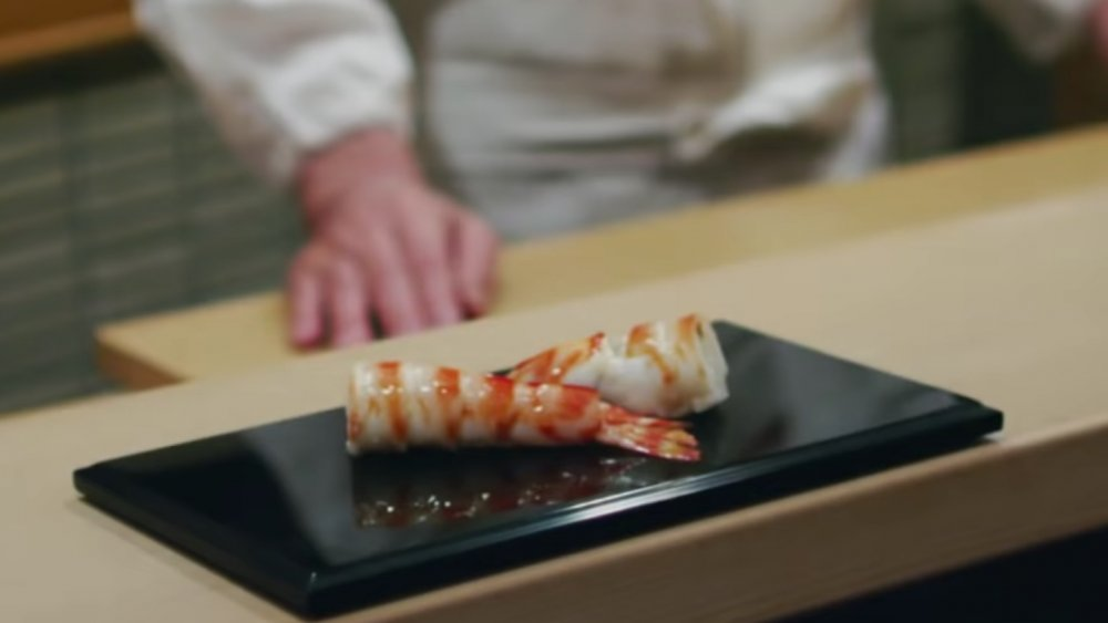 Shrimp served at Sukiyabashi Jiro