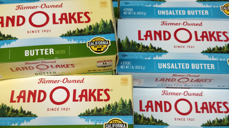 Closeup of several Land O' Lakes Butter packages