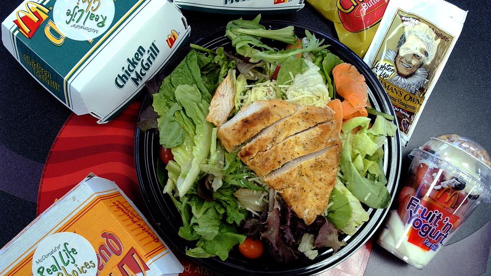 McDonald's salad, yogurt parfait, grilled chicken sandwiches