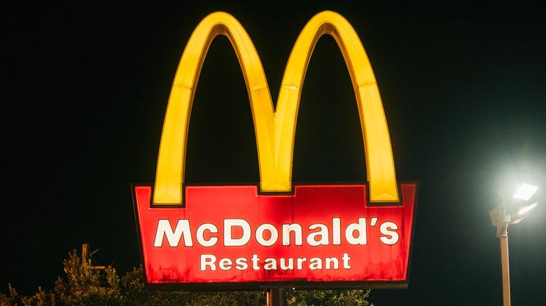 McDonald's sign against night sky