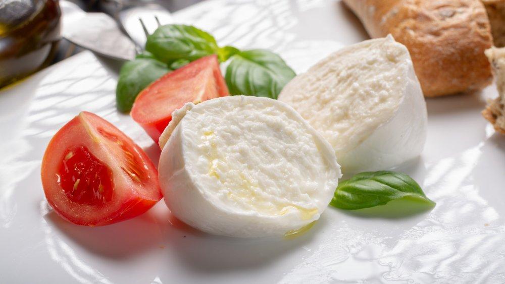A ball of fresh mozzarella
