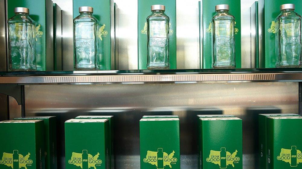 Empty naked juice bottles
