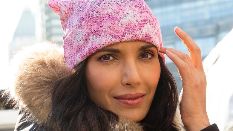 Padma Lakshmi wearing pink hat