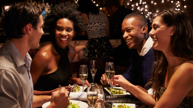Couples dining in restaurant