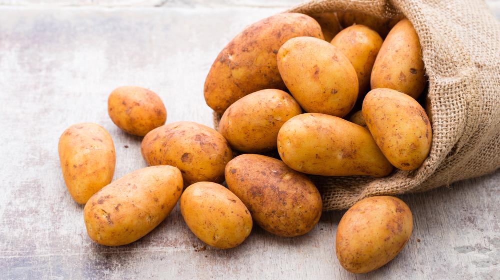 Burlap bag of russet potatoes