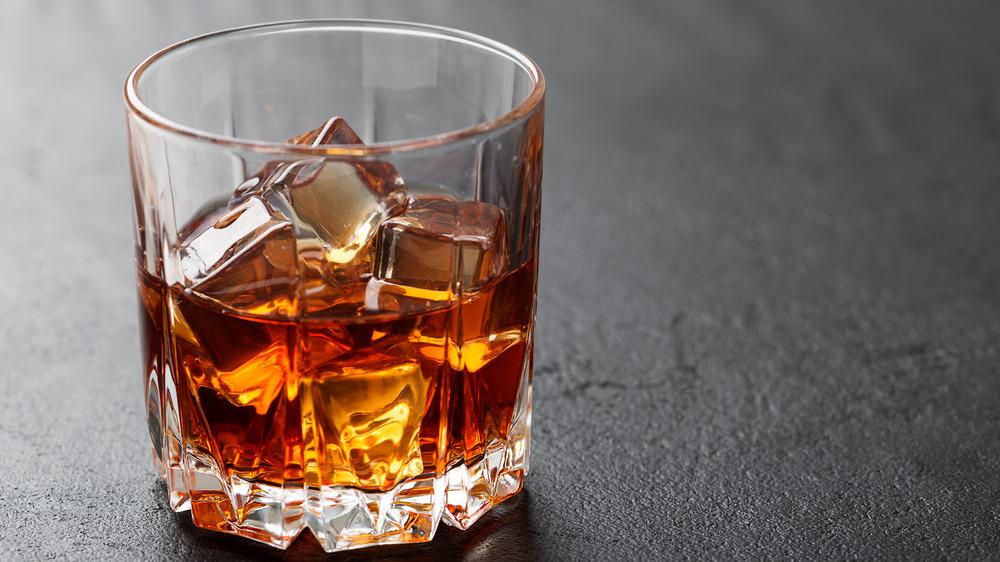Glass of Scotch with ice