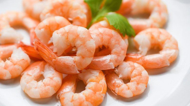Pile of cooked shrimp