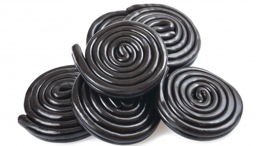 black licorice candy swirls