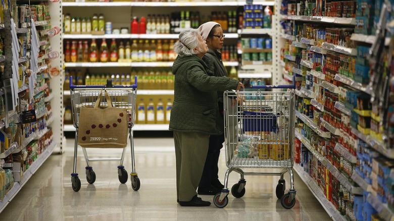 Customers with Aldi cart