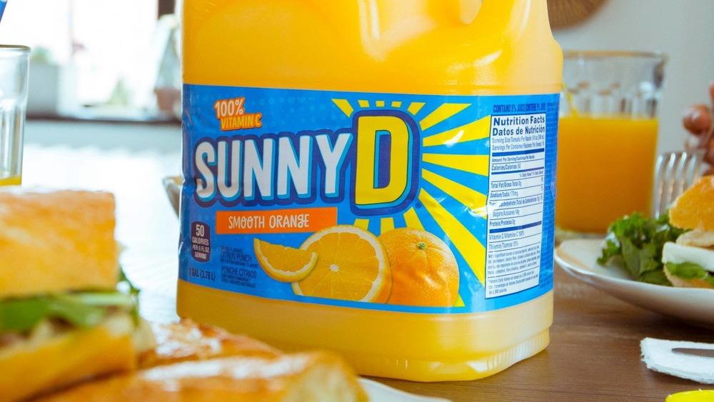 Sunny D on breakfast table