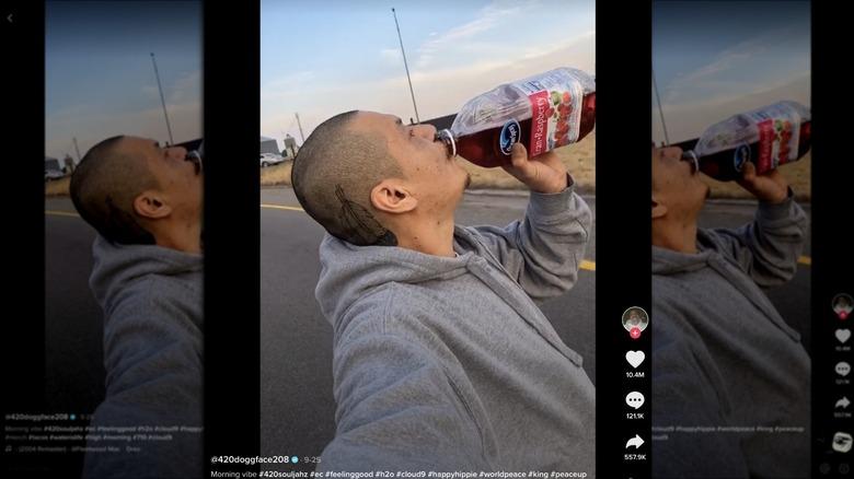 Apodaca longboarding and drinking cranberry juice