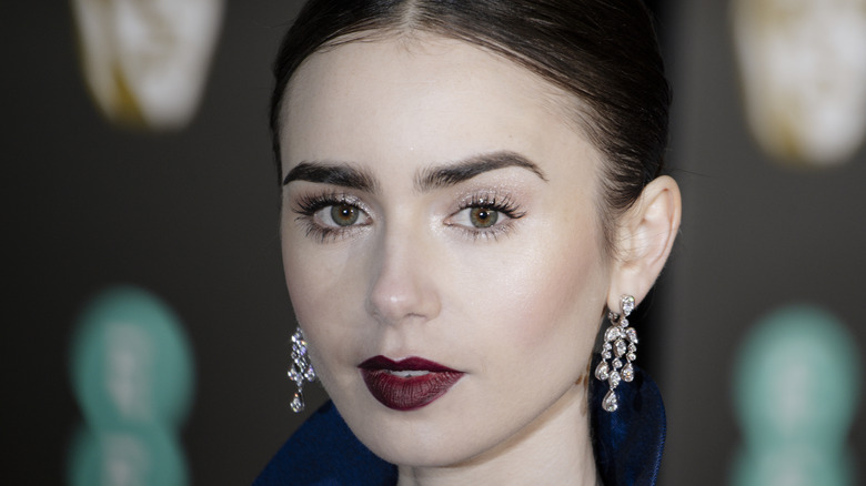 Close-up of Lily Collins