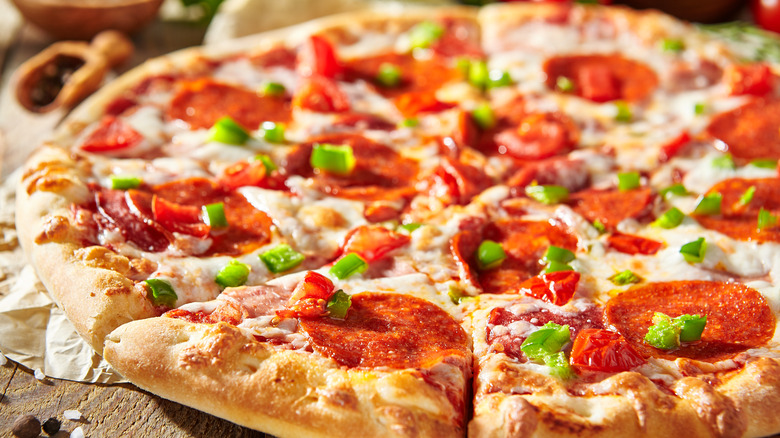 Cheese pizza with pepperoni