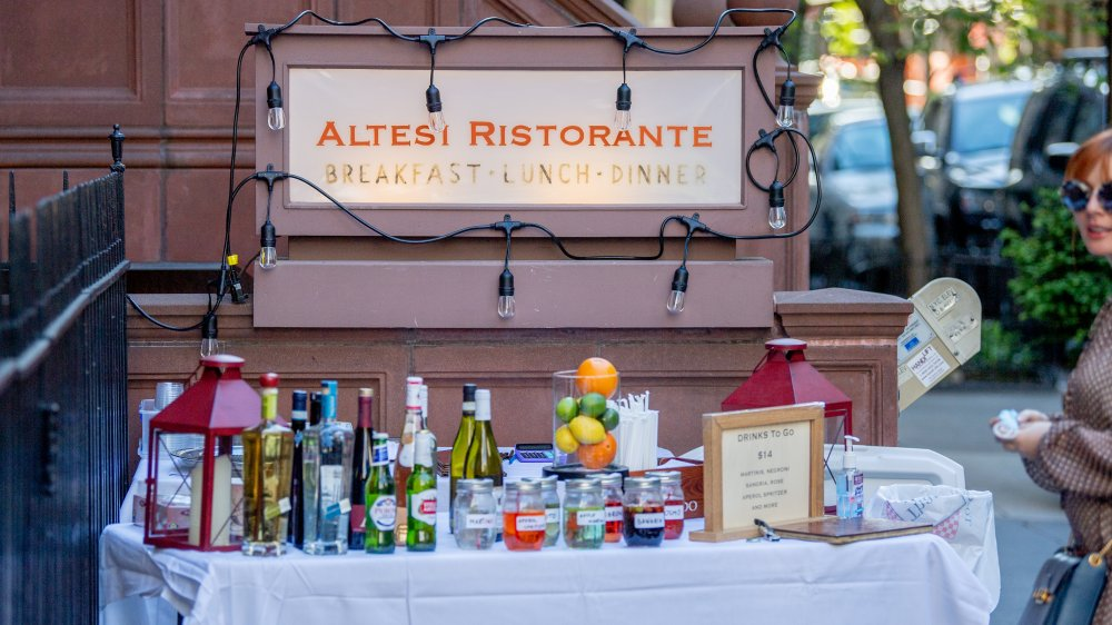 alcohol takeout in front of restaurant