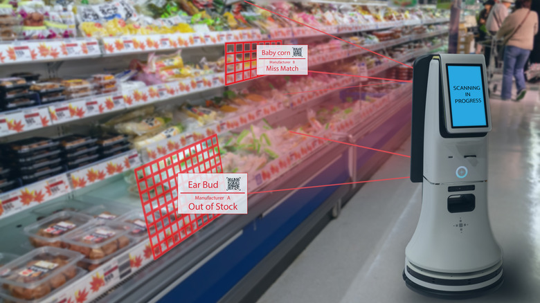 A Robots scans a grocery store in the future which inexplicably presents its ear buds next to the baby corn and other chilled food items. Now that's high tech?